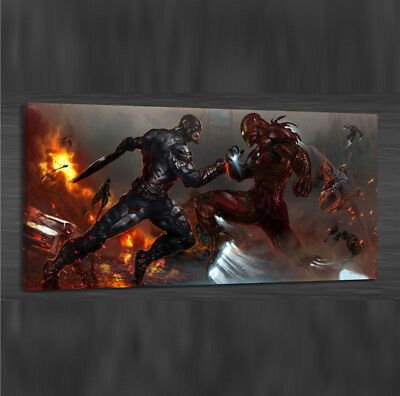 America VS Iron Man,Home Decor HD Print Art Painting on Canvas 24x48/Unframed