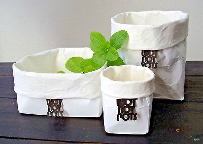 Home decor -  Rubber pottery -  3 - pots and tray - white outer and inner
