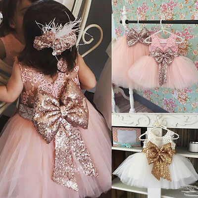 XMAS Kids Baby Flower Girls Sequins Tulle Tutu Dress Princess Party Wedding Gown