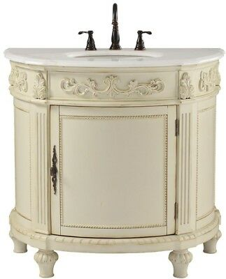 Bathroom Vanity Marble Top Single Basin Sink Undermount Antique White Classic