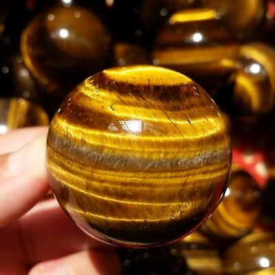 85-90g1pcs Pretty Natural Golden Tiger's Eye Crystal Sphere Ball Healing
