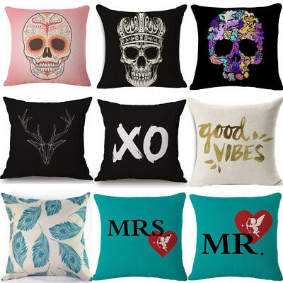 Skull Fashion Cotton Linen Pillow Cover Sofa Cushion Covers Pillow Cases