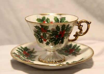 Ucagco-Holly & Berry Holiday Teacup & Saucer- Iridescent Lustreware Japan