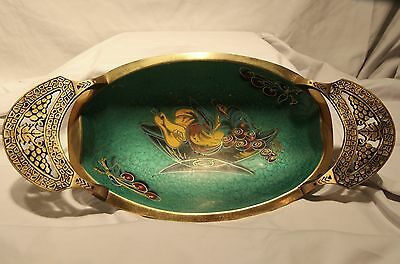 Vintage 1960 Israel Jewish Judaica Teal Enamel Brass Accented Bowl with Fruit