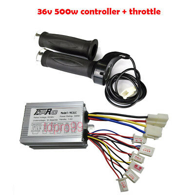 36V 500W Electric Bike Scooter Motor Brush Speed Controller Twist Grips Throttle
