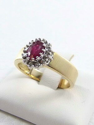 Wert 690,- Rubin Ring Mit Diamanten In 750 / 18 Kt Gold Gr. 54