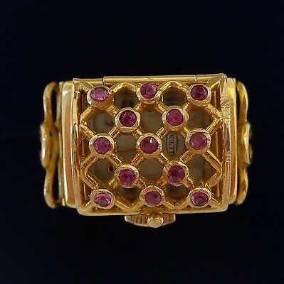 Swiss Ruby Watch Ring in 18ct Yellow Gold - Vintage - 12.8g