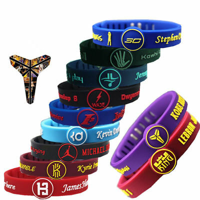 NBA Silicone Wristband Adjustable Clasp Bracelet Cavaliers Warriors Celtics LA