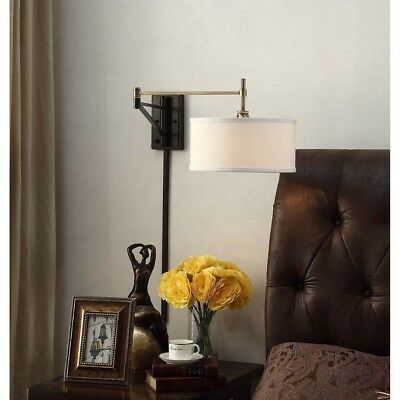 Swing Arm Wall Sconce Antique Brass Bronze Fixture Fabric Shade Incandescent New