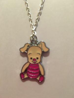 "CUTE PIGLET Necklace 18"" SILVER PLATED Chain Present Christmas In Gift Bag."