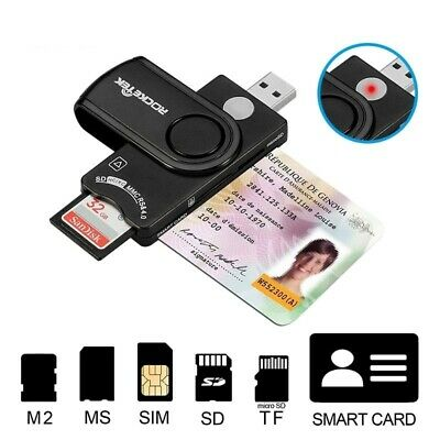 Smart Card Reader DOD Military USB 2.0 Common Access, Bank Card, ID, Sim Adapter