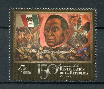 Mexico 2017 MNH Restoration of Republic 150th Anniv 1v Set History Flags Stamps