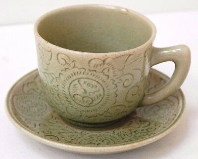 Vintage Green Stoneware Large Cup & Saucer