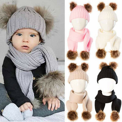 2PCS Newborn Baby Kids Boy Girl Winter Warm Cap Pom-Pom Knitted Beanie Hat+Scarf