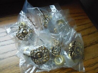6 Vintage Old Stock Brass French Style Ornate Knobs Drawer Pulls Handles