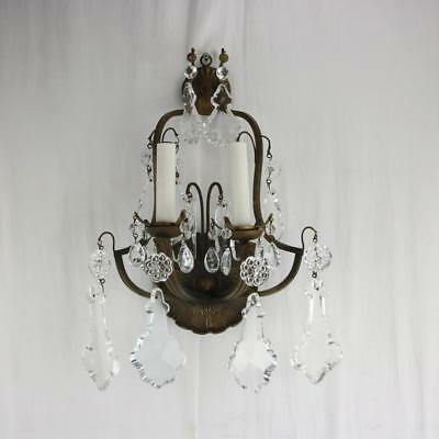 VTG Louis XVI Style Brass & Crystal 2-Light Wall Sconce Solid Antique French