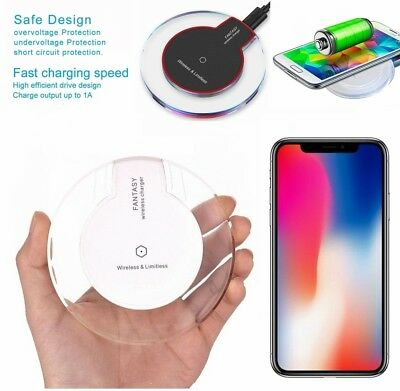 Qi Wireless LED Charger Charging Pad for Apple iPhone X 8 Plus iOS 11 10.3 Black