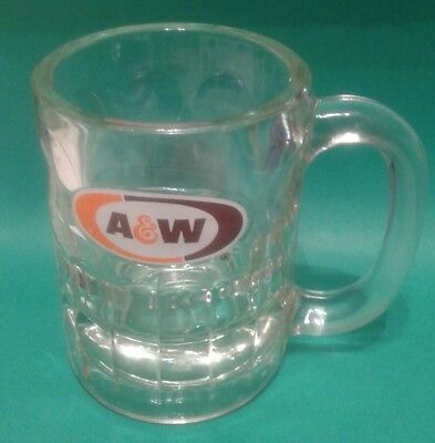8 Ounce A&W Root Beer Mug 1968 Orange And Brown Logo On White Background