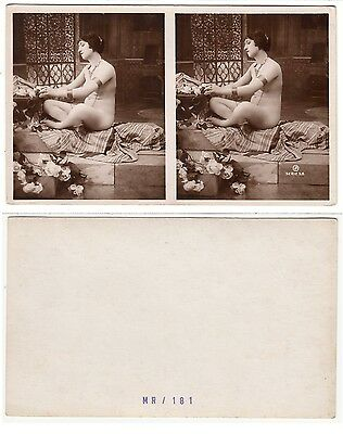 Nackte Frau weiblicher Akt Chain Lady Female Girl nude Art Deco Stereo PH 1925/2