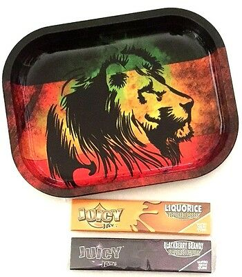 REGGAE LION Smokers Tobacco Rolling Metal Tray with JUICY JAYS King Size Papers