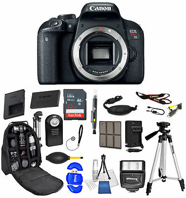 Canon EOS Rebel T7i DSLR Camera Body Only  32GB Backpack Bundle  *Brand New*