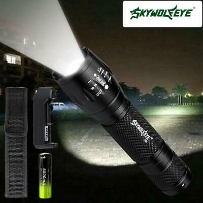 10000LM X-XML T6 Zoomable Tactical LED Flashlight Torch+18650 Battery+Charger UP