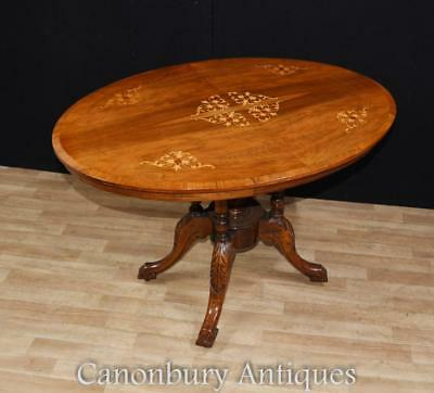 Regency Oval Loo Table Tilt Top Marquetry Inlay