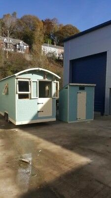Shepherd's hut, Romany cabins  and compost toilet unit. Glamping office sheds.