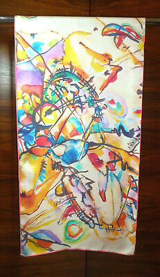 Long silk twill scarf One of Kandinsky's untitled works Multicoloured  NEW