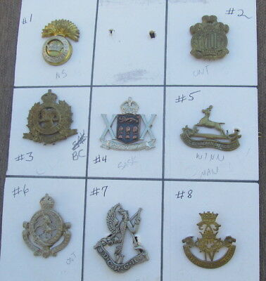 Lot of 8 WW1 or WW2 Era CANADIAN Military Cap Hat Badges - CANADA