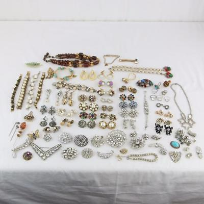 Large Estate Lot of Costume Jewelry RHINESTONE Antique Brooches, Pins, Rings Etc