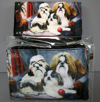 New Shih Tzu Dog Zippered Pouch &  Check Book Wallet By Ruth Maystead 3 Dogs