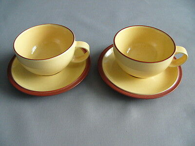 Pair of Denby Juice Yellow Breakfast Cups and Saucers