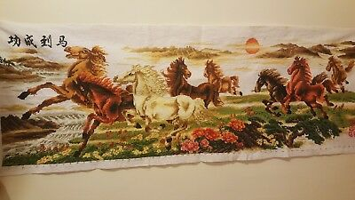 """Handmade embroidery """" Road to success"""" Eight horses Ship from USA!!!"""