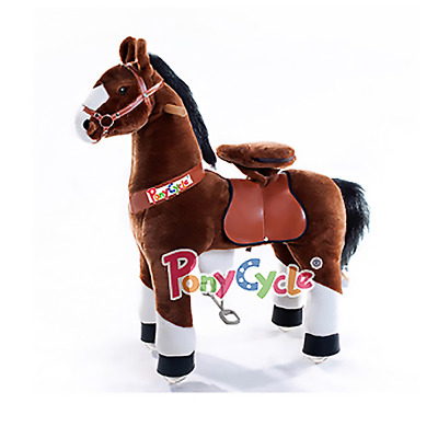 PonyCycle Medium Chocolate Brown & White Non-Electric Kid Powered Ride On Horse