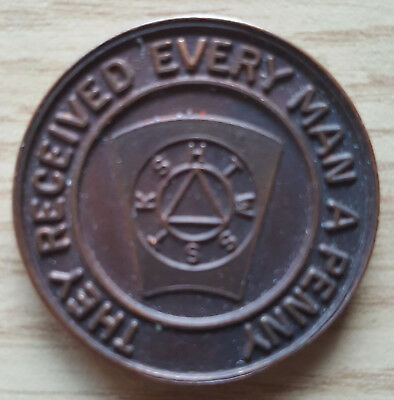 Scottish Masonic Kirkintilloch Athol #384 Token They Received Every Man A Penny