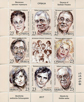 Serbia 2017 MNH Doyens of Serbian Theatre Famous Actors 8v M/S Stamps