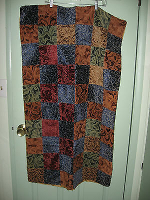 "VERY OLD HAND MADE  AND MACHINE SEWN LAP QUILT    45""  x  26"""