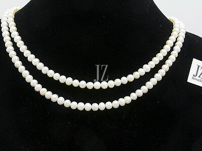 Freshwater Cultured Pearl 17 inch Double Pearl Necklace with S/Silver Clasp