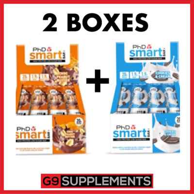 2x PHD Nutrition Smart Bars 12 x 64g, Low Sugar, Palm Oil Free, High Protein Bar
