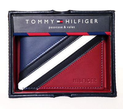 Tommy Hilfiger Men's Leather Wallet Passcase Bifold White Red Navy 31tl22x051