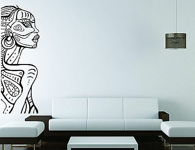 Africa Wall Sticker African Vinyl Transfer 6ft Lifesize Tribe Lady Art Decal UK