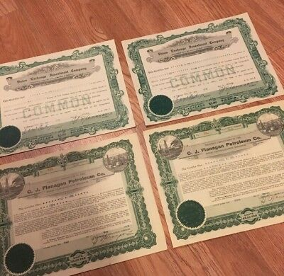 Lot Of 4 Vintage Stock Certificates Oil Investment 1920's Cool!