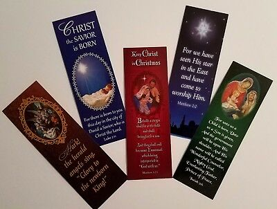 "Variety of Christmas, Inspirational Bookmarks 2"" x 6"" Set of 5"