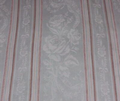 Ice Blue French Antique Cotton Floral Ticking Stripe C1880-90~Roses & Ribbons