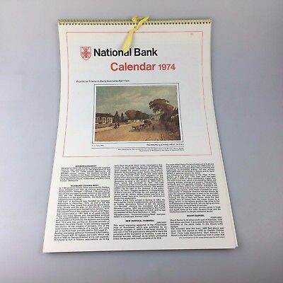 National Bank Calendar - 1974 - With Envelope - Provincial Towns Early Australia