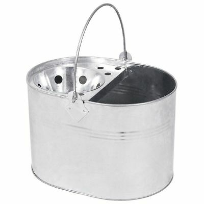 Heavy Duty Mop Bucket 14 Litre Galvanized Metal Industrial Cleaning Tools Silver
