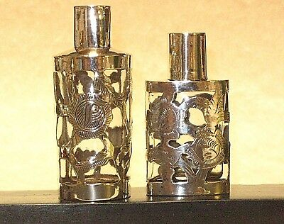 Two Vintage-Antique Sterling Silver over Glass Snuff Bottles