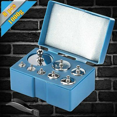 Scale Balance Calibration Weight Set 10-1000G 8Pc Set w/ Case Stainless Steel BG