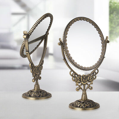 Oval Bronze 3X Magnifying Counter Makeup Mirror Stand Compact Noble Lady Mirror